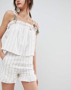 Комбинируемые шорты с оборками по краю Neon Rose - Кремовый