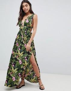Пляжное платье макси с принтом ASOS DESIGN - Мульти