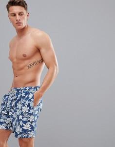 Шорты для плавания с принтом Selected Homme - Синий