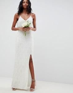 Кружевное платье с отделкой ASOS EDITION wedding - Белый