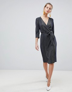 Платье миди с запахом и рукавами 3/4 Traffic People - Темно-синий