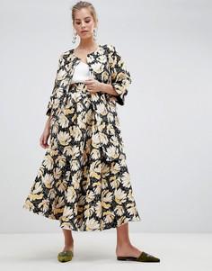 Жаккардовая юбка миди с принтом Traffic People - Золотой