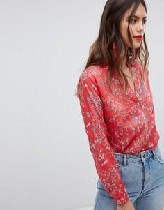 Рубашка с пуговицами и цветочным принтом Esprit - Красный