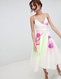 Платье миди для выпускного с цветочным принтом ASOS DESIGN - Мульти
