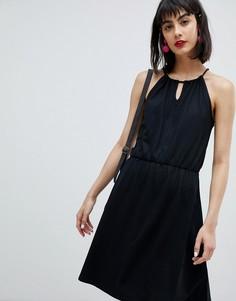 Трикотажное платье мини с затягивающимися шнурками Esprit - Черный