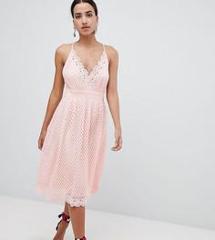 Кружевное платье миди на бретелях Boohoo - Розовый