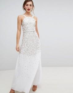 Платье макси с пайетками Frock & Frill - Кремовый