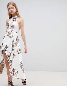 Платье с халтером, цветочным принтом и асимметричным краем Love & Other Things - Белый