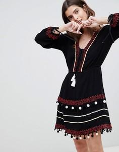 Свободное платье с вышивкой River Island - Черный