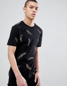 Черная футболка с принтом перьев River Island - Черный