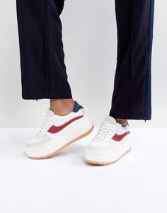 Белые кожаные кроссовки на платформе SixtySeven - Мульти