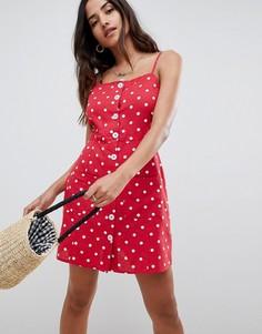 Летнее платье в горошек на пуговицах ASOS DESIGN - Мульти