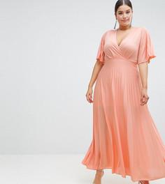 Платье-кимоно макси с плиссировкой ASOS DESIGN Curve - Мульти