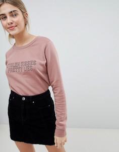 Свитшот с вышивкой Stolen Kisses JDY - Розовый