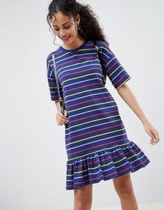 Платье мини в полоску с оборкой ASOS DESIGN - Мульти