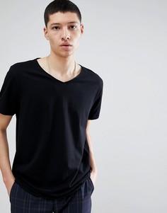 Черная футболка с V-образным вырезом Weekday - Черный