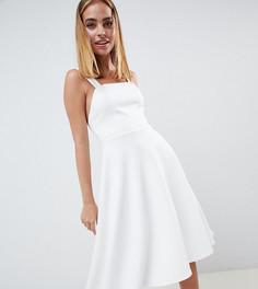 Платье для выпускного с квадратным вырезом ASOS DESIGN Petite - Белый