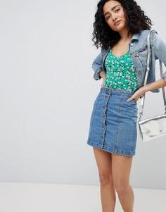 Джинсовая юбка-трапеция с пуговицами New Look - Синий
