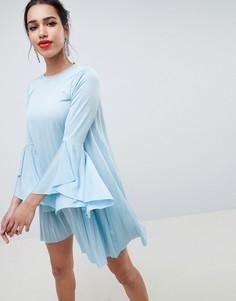 Платье мини А-силуэта с плиссировкой ASOS DESIGN - Синий