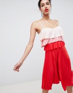 Ярусное платье миди в стиле колор блок с плиссировкой ASOS DESIGN - Мульти