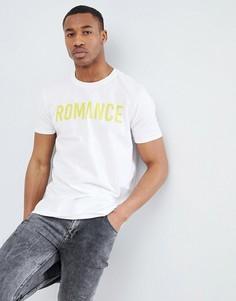Белая oversize-футболка с надписью Romance boohooMAN - Белый