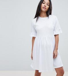 Свободное хлопковое платье с оборками на рукавах ASOS DESIGN Maternity - Белый