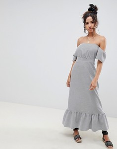 Платье макси в полоску с открытыми плечами ASOS DESIGN - Мульти