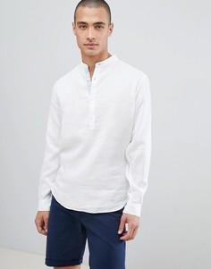 Белая льняная рубашка с воротником на пуговице Lindbergh - Зеленый