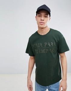Зеленая футболка с принтом цвета металлик River Island - Зеленый