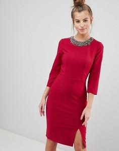 Облегающее платье с отделкой на вороте Little Mistress - Розовый