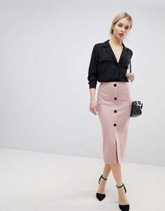 Юбка-карандаш из ткани понте на пуговицах ASOS DESIGN - Розовый