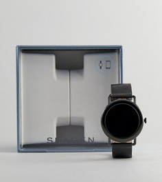 Черные смартчасы с кожаным ремешком Skagen Connected SKT5001 - Черный