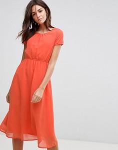 Платье миди А-силуэта Pussycat London - Оранжевый