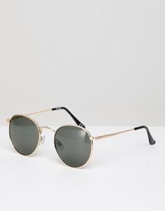 Золотистые круглые солнцезащитные очки с отделкой на переносице ASOS - Золотой