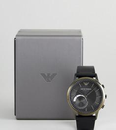 Гибридные смарт-часы 43 мм с черным кожаным ремешком Emporio Armani Connected ART3021 - Черный