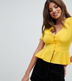 Блузка с баской Missguided - Желтый