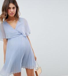 Платье мини с плиссированной юбкой и расклешенными рукавами ASOS DESIGN Maternity - Розовый