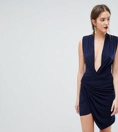 Платье мини без рукавов с запахом John Zack Tall - Темно-синий