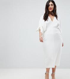 Платье миди с широкими рукавами ASOS DESIGN Curve - Белый