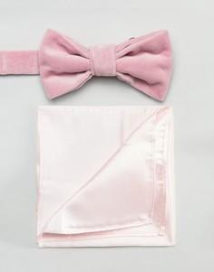 Розовый бархатный галстук-бабочка и атласный платок для пиджака Devils Advocate - Розовый