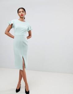 Платье миди с расклешенными рукавами ASOS DESIGN - Зеленый