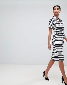 Льняное платье в полоску с карманами ASOS DESIGN - Мульти