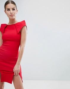 Платье-футляр со структурированными плечами и двумя разрезами Vesper - Красный