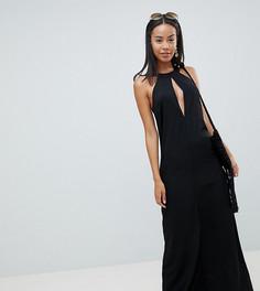 Платье макси с лямкой через шею ASOS DESIGN Tall - Черный