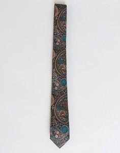Бордово-бирюзовый узкий галстук с принтом пейсли ASOS - Красный