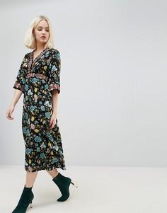 Платье макси с цветочной отделкой Hazel - Черный
