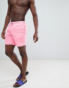 Розовые шорты для плавания средней длины с эффектом кислотной стирки ASOS DESIGN - Розовый