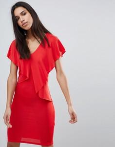 Платье с оборкой Y.A.S Lou Lou - Красный