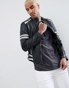 Черно-белая кожаная байкерская куртка Goosecraft Manchester - Черный