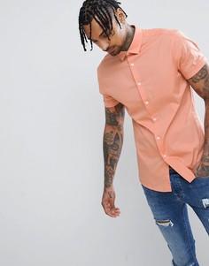 Оранжевая приталенная рубашка с короткими рукавами ASOS DESIGN - Оранжевый